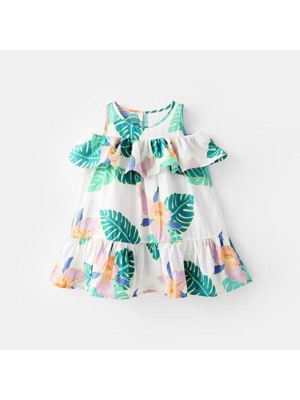 【18M-7Y】Girls Ruffled Short-sleeved Sweet Pleated Dress