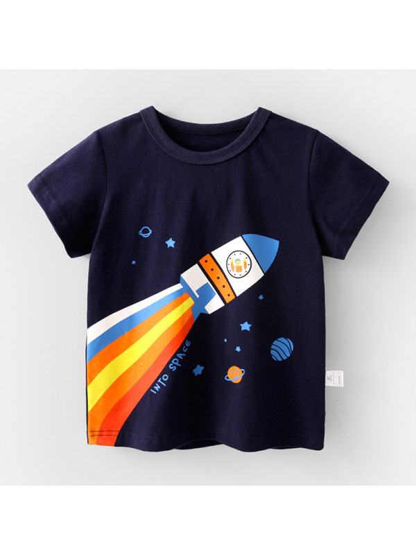 【12M-7Y】Boys Cartoon Print Short Sleeve T-shirt
