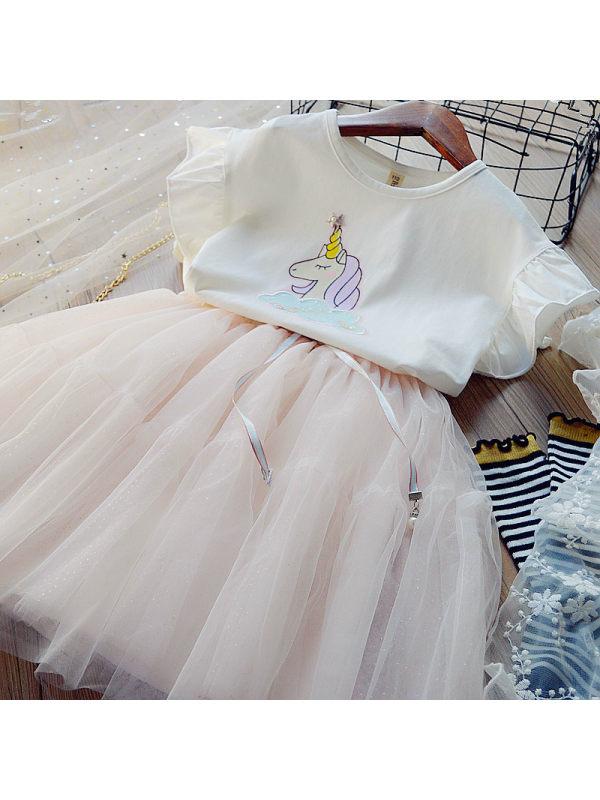 【2Y-9Y】Sweet Unicorn T-shirt and Mesh Skirt Set