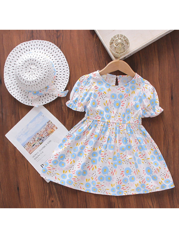 【18M-7Y】Girl Sweet Blue Floral Dress With Hat