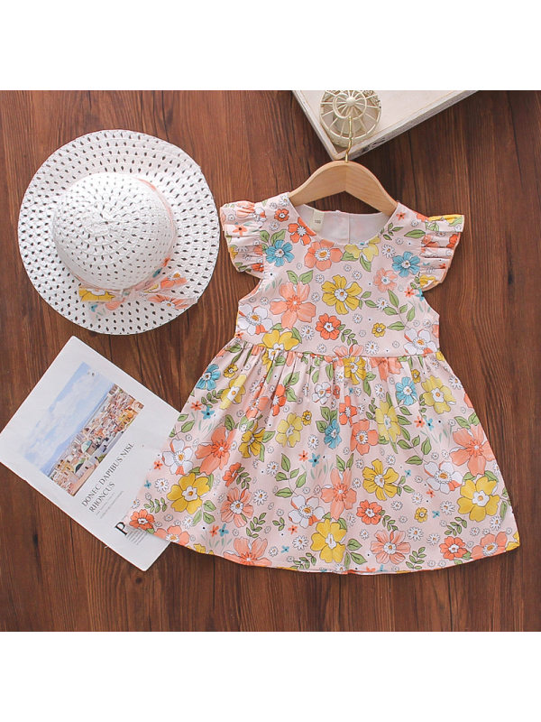 【18M-7Y】Girl Sweet Pink Floral Dress With Hat
