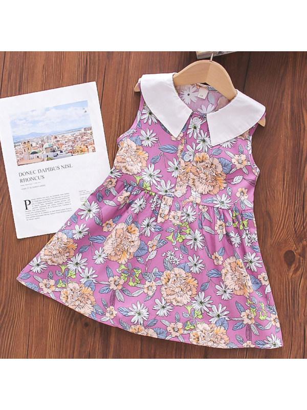 【18M-7Y】Girl Sweet Purple Flower Lapel Sleeveless Dress