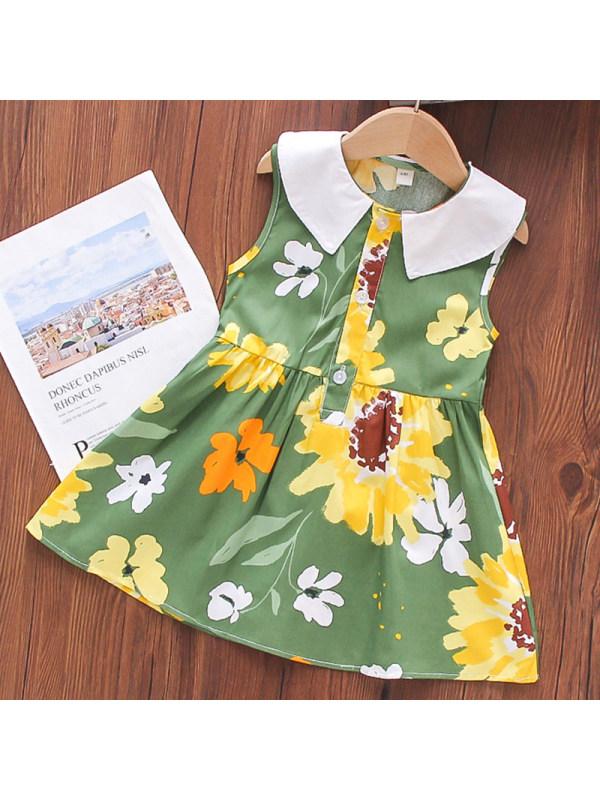 【18M-7Y】Girl Sweet Green Flower Lapel Sleeveless Dress