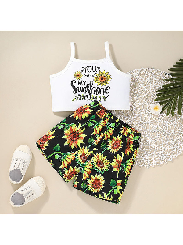 【12M-5Y】Girls Round Neck Print Camisole With Shorts Suit