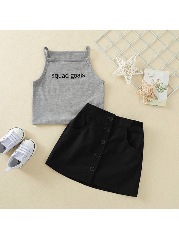 【12M-5Y】Girls' Letter Vest T-shirt And Button Skirt Suit