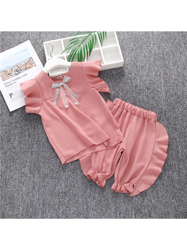 【18M-7Y】Girls Flying Sleeves Decorated Butterfly With Shorts Two-piece Suit