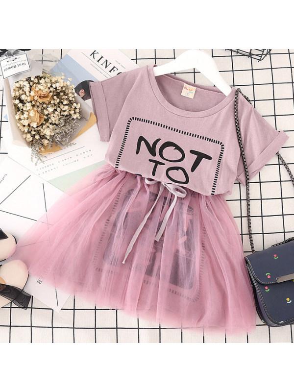 【2Y-9Y】Sweet Letters Printed Short Sleeved Mesh Dress