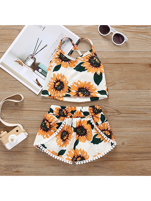 【12M-5Y】Girls' Sling Floral Vest With Shorts Two-piece Suit