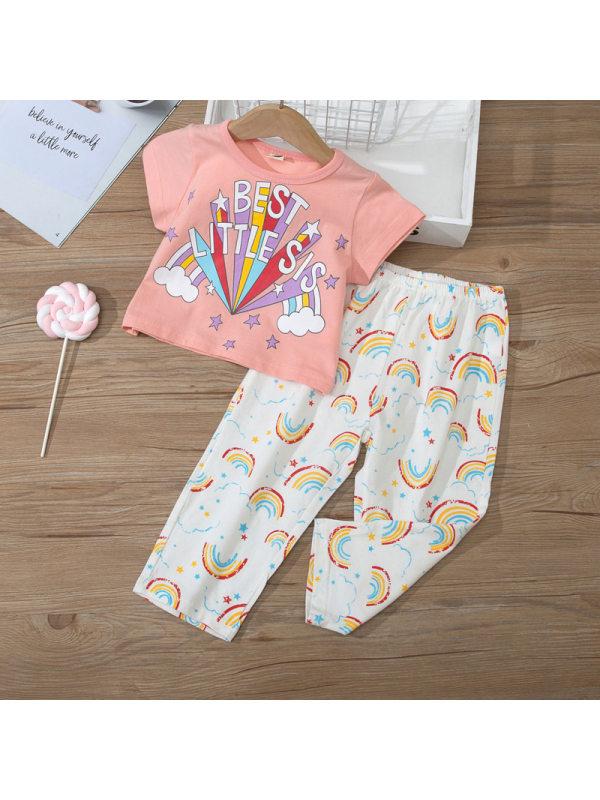 【18M-7Y】Girls Rainbow Print Short Sleeve Top Pants Set Two Piece Set