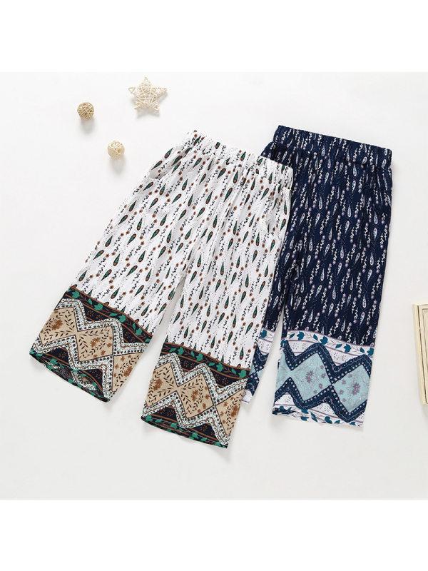 【18M-7Y】Girls Ethnic Print Loose Straight-leg Pants