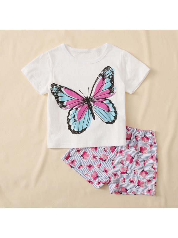 【18M-7Y】Girls Butterfly Print Short-sleeved T Blood Pattern Shorts Two-piece Suit