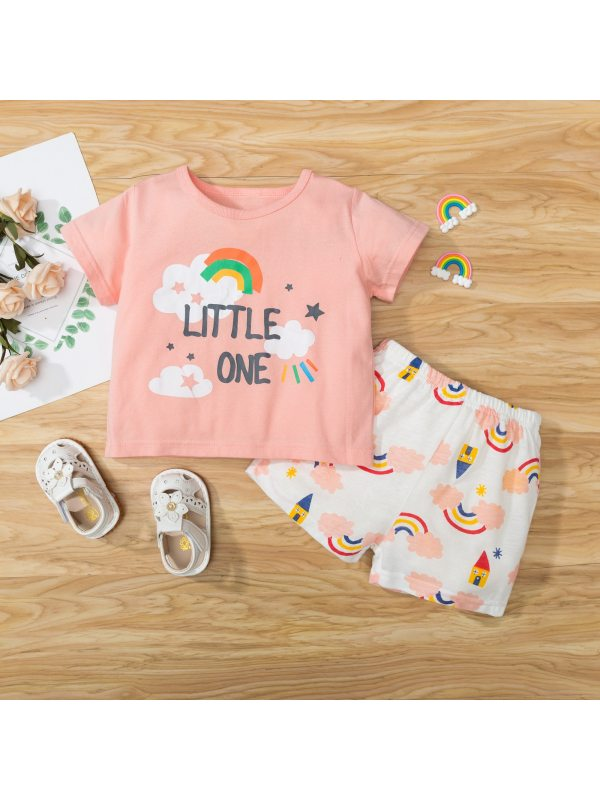 【18M-7Y】Girls Cartoon Print Short-sleeved Top And Shorts Two-piece Suit