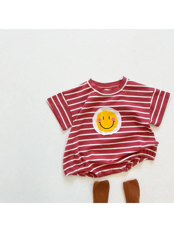 【6M-3Y】Baby Short Striped Smiley Bodysuit