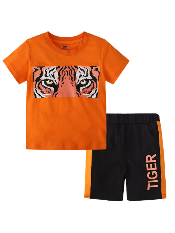 【18M-9Y】Boy Tiger Pattern Cartoon Print Short-sleeved T-shirt Shorts Two-piece Suit
