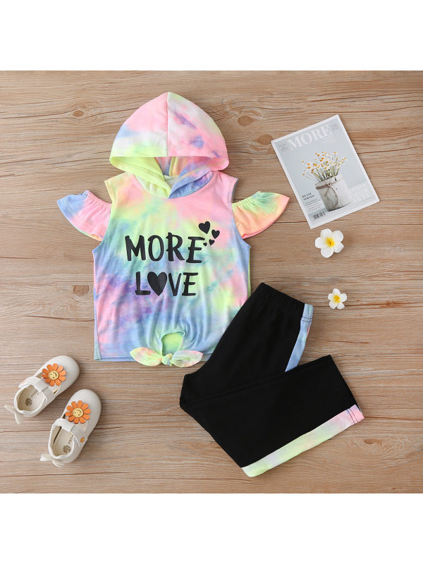 【18M-7Y】Girls Tie-dye Letter Print Short-sleeved Hooded Top And Trousers Two-piece Suit
