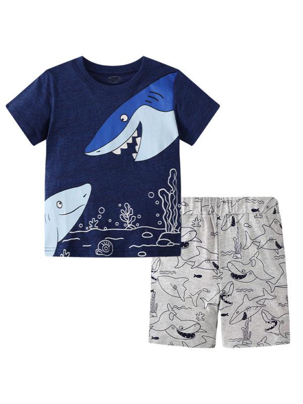【18M-9Y】Boys Shark Print Short Sleeve Two-piece Suit