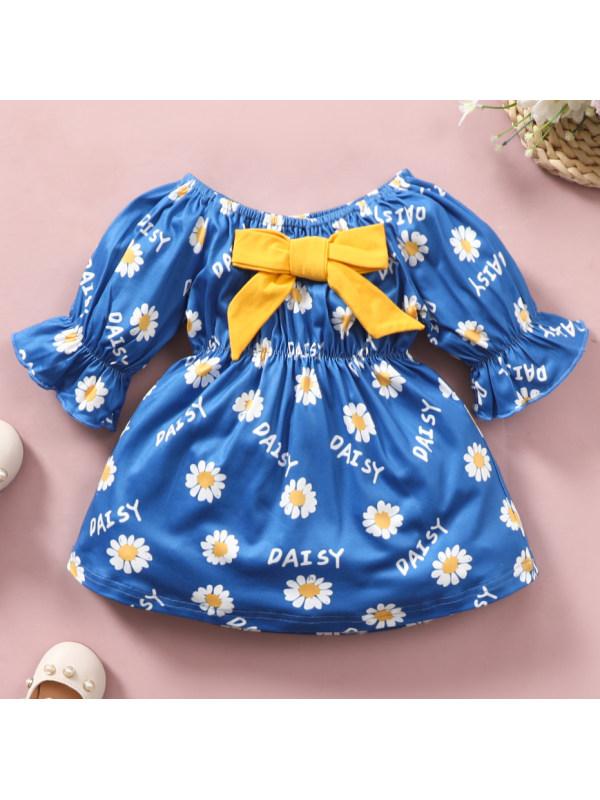 【6M-3Y】Cute Yellow Bow Flower Print Blue Dress
