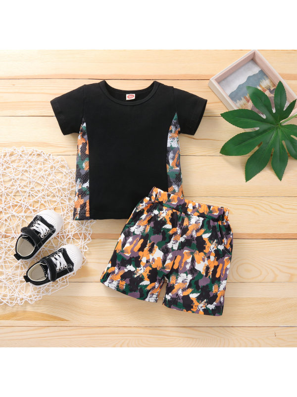 【18M-5Y】Boys Color Contrast Stitching Fashion Short-sleeved Shorts Two-piece Suit