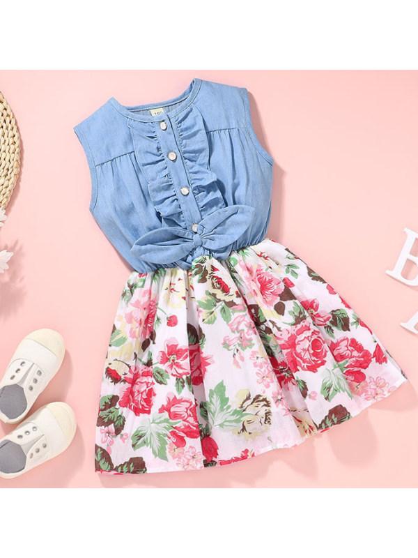【18M-7Y】Sweet Pink Flowers Denim Dress