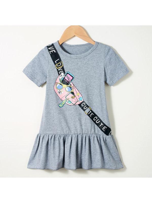 【18M-7Y】Cute Cartoon Print Gray Dress