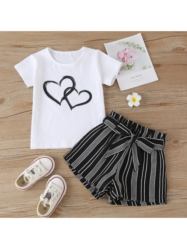 【18M-7Y】Cute Heart-shaped Print White T-shirt And Striped Shorts Set