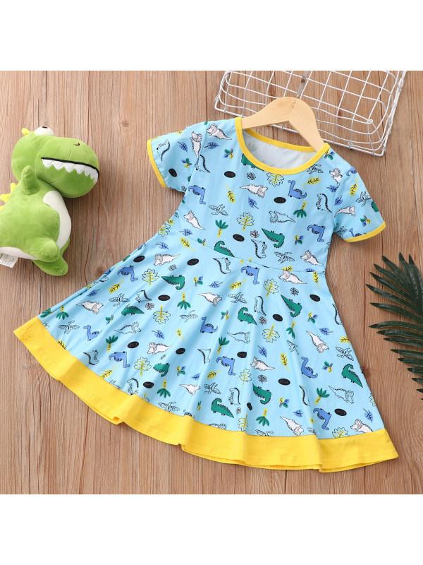 【18M-7Y】Cute Cartoon Dinosaur Print Light Blue Dress