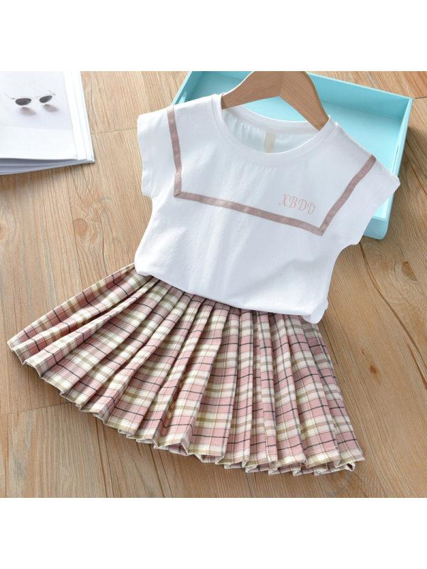【18M-7Y】Girl Sweet Short-sleeved T-shirt Plaid Pleated Skirt Set