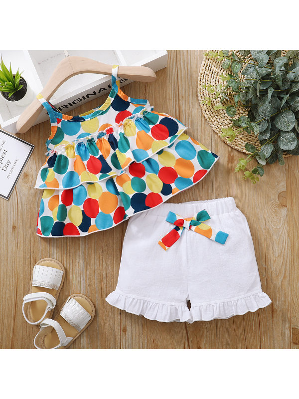 【12M-4Y】Cute Colored Polka Dot Top and White Shorts Set