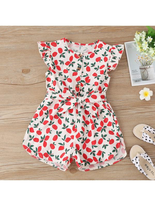 【18M-7Y】Cute Lemon Print Round Neck Short Sleeve Jumpsuit