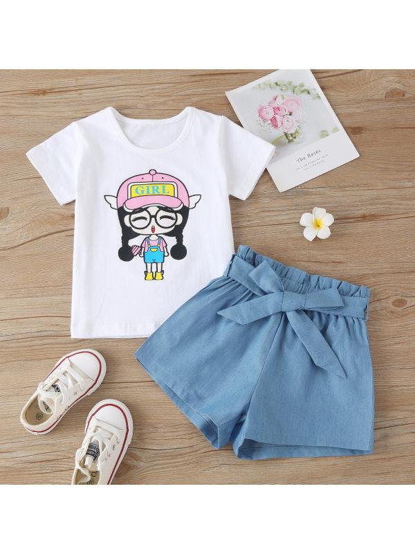 【18M-7Y】Cute Cartoon Print White T-shirt And Blue Denim Shorts Set