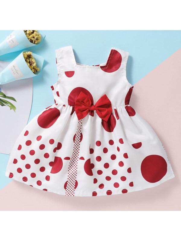 【6M-2.5Y】Cute Polka Dot Printed Bow Sleeveless Dress
