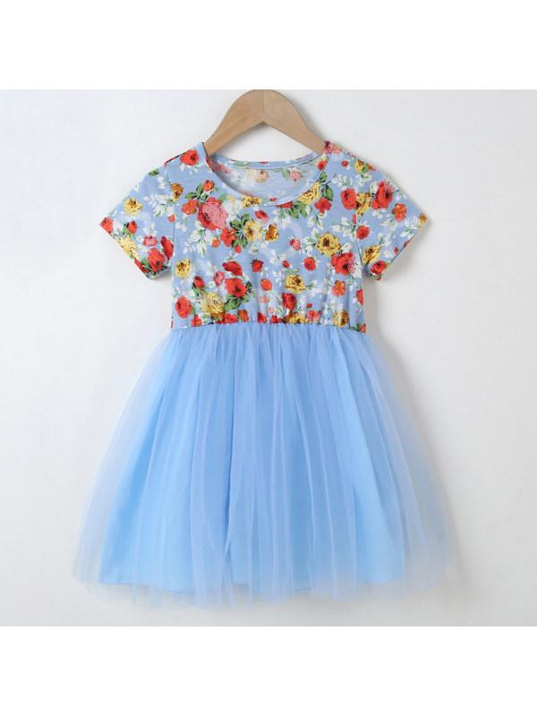 【18M-7Y】Sweet Flower Print Blue Mesh Dress