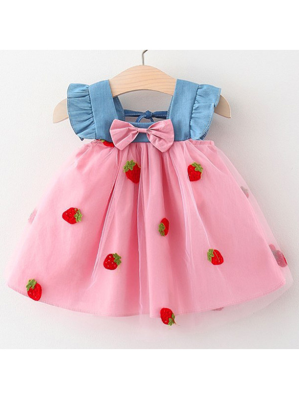 【12M-4Y】Cute Strawberry Embroidered Mesh Dress