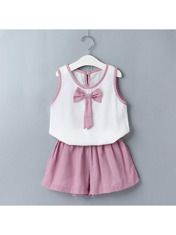 【12M-5Y】Girls Casual Vest Top Shorts Two-piece Suit