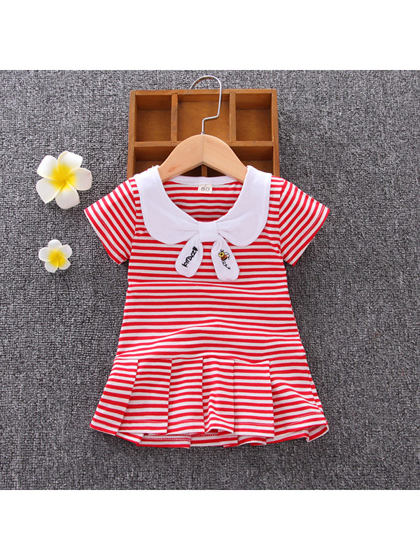 【12M-5Y】Girls Lapel Striped Short Sleeve Pleated Dress