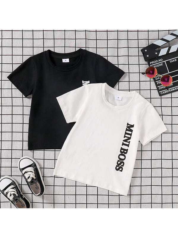 【6M-3Y】Boys Crew Neck Letter Print Short Sleeve T-Shirt