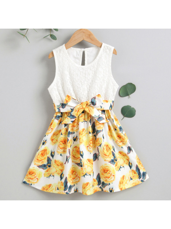 【18M-7Y】Sweet Yellow Floral Print Sleeveless Dress