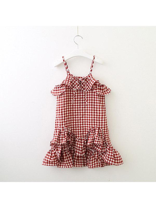 【18M-7Y】Girls Plaid Sling Ruffle Dress