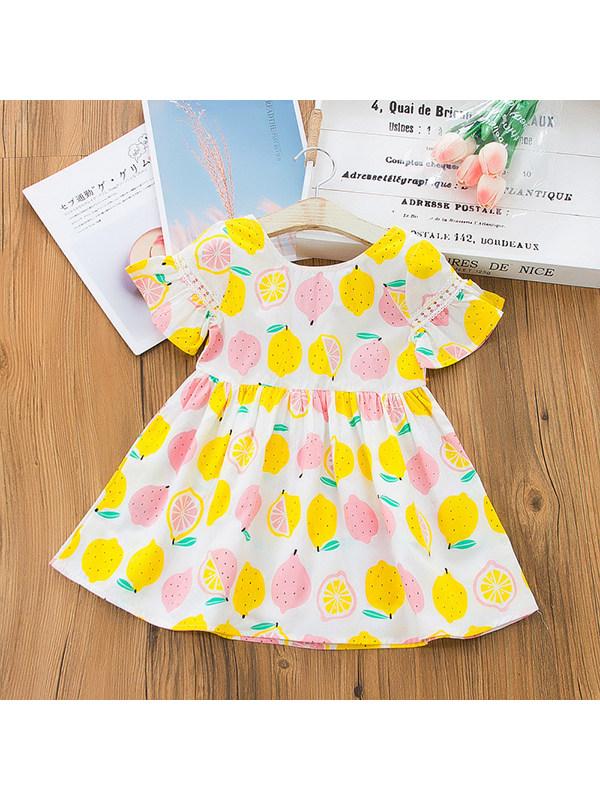【18M-7Y】Girls Round Neck Cotton Printed Halter Dress