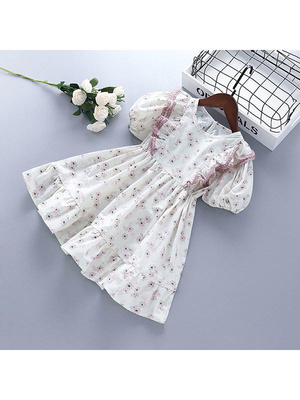 【2Y-9Y】Girls Floral Print Short Sleeve Dress