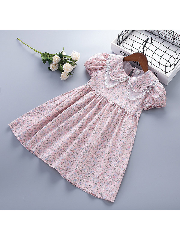 【2Y-9Y】Girl Pastoral Style Short-sleeved Floral Doll Collar Dress