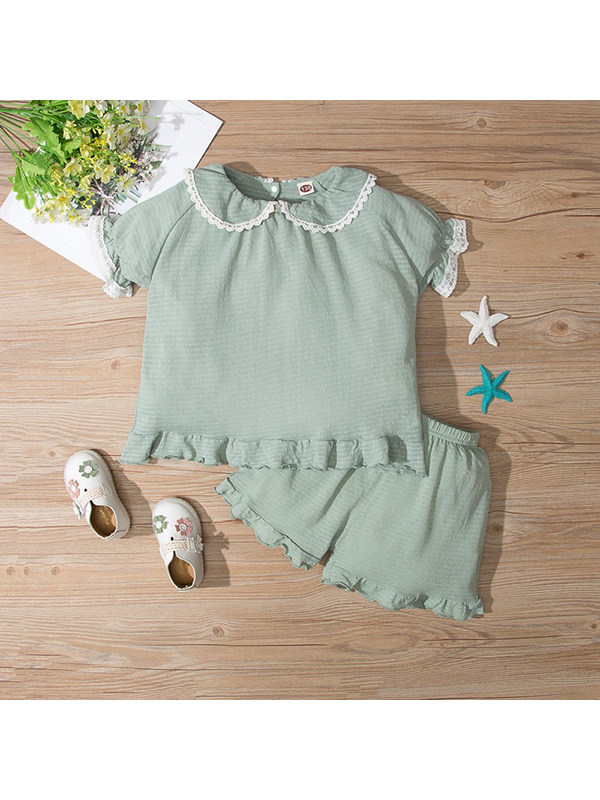 【4Y-13Y】Girl Doll Collar Lace Trim Blouse And Shorts Suit