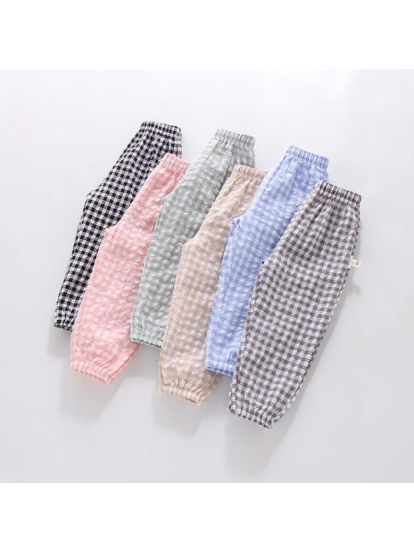 【18M-7Y】Girls Summer Thin Plaid Loose Cropped Trousers