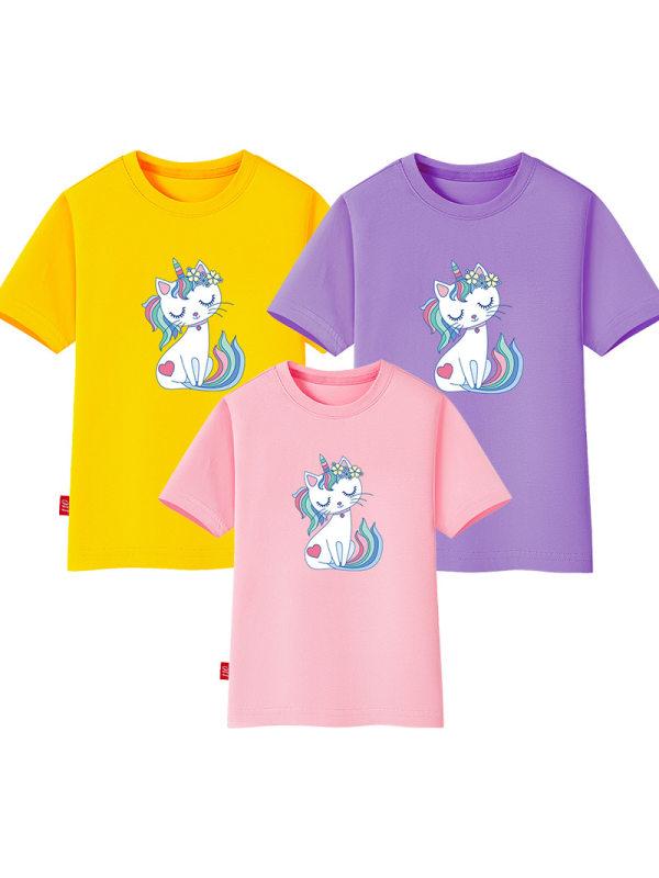 【18M-11Y】Girls Unicorn Cartoon Print Short Sleeve T-shirt