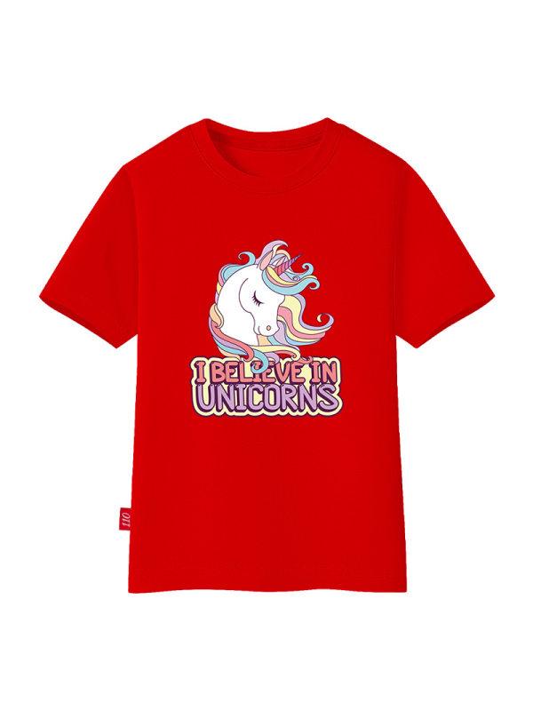 【18M-11Y】Girls Unicorn Print Short Sleeve T-shirt