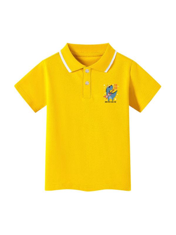 【3Y-13Y】Boys' Cartoon Print Short-sleeved Polo Shirt