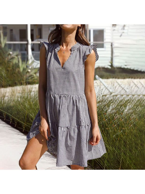 Checked V-neck Ruffle Sleeve Loose Layered Dress