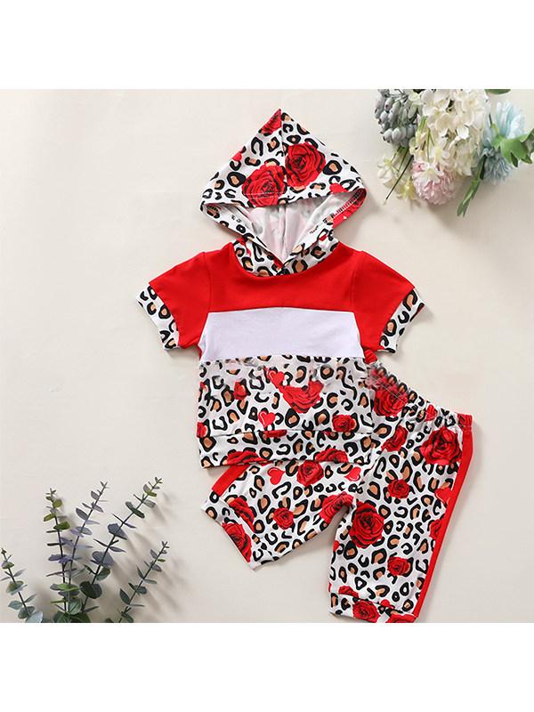 【6M-4Y】Children's Hooded Stitching Leopard Print Floral Top Five-point Pants Suit