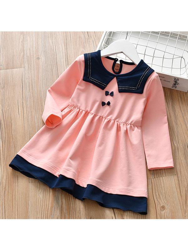 【2Y-9Y】Girls' College Style Long Sleeve Dress