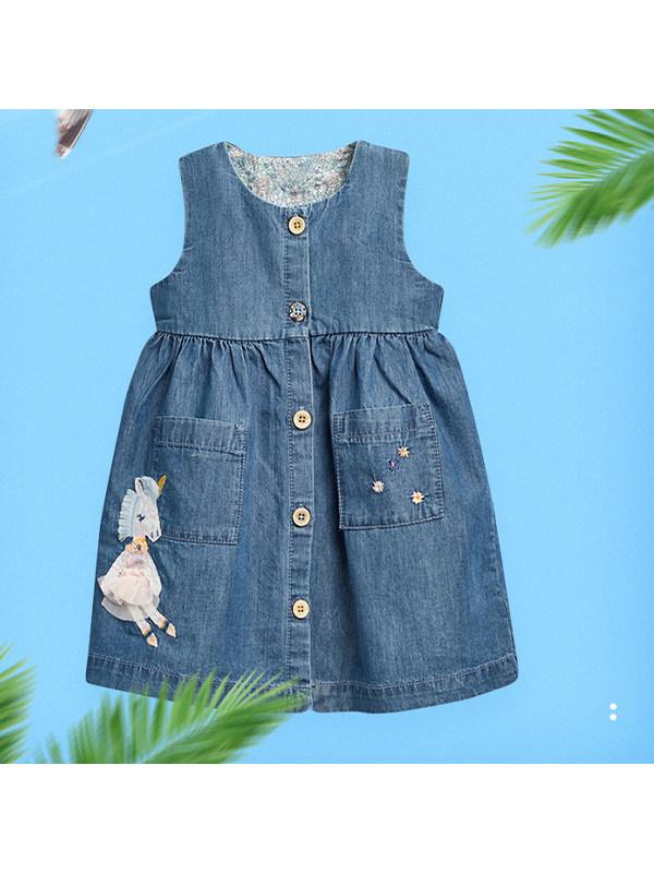 【18M-9Y】Girls Cartoon Embroidered Denim Dress